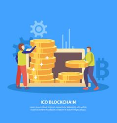 Ico blockchain flat background vector