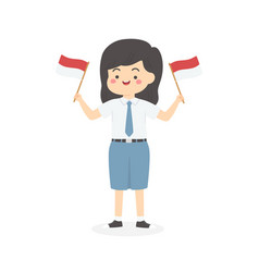 indonesia high school girl hold flag vector image