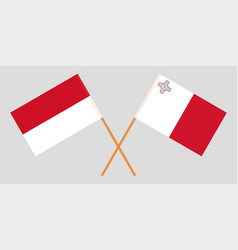 Indonesian and maltese flags vector