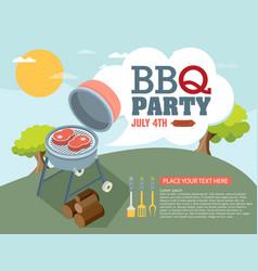 Invitation card on the barbecue vector