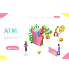 isometric flat landing page template atm vector image