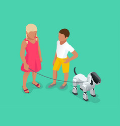 isometric techno robot concept a girl and a boy vector image