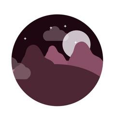 landscape nature moon night stars mountains vector image