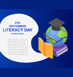 Literacy day book banner concept isometric style vector