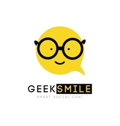 Logo smiley with glasses clever cartoon cheerful vector