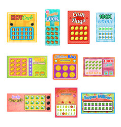 Lottery ticket lucky bingo card win chance vector
