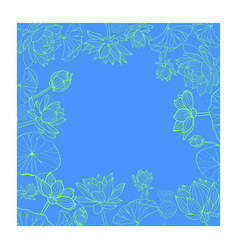 lotuses flower with line-art frame vector image