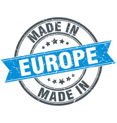 Made in europe blue round vintage stamp vector