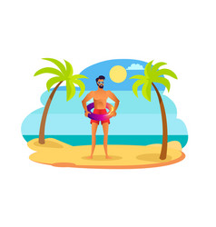 man in sunglasses and red trunks with lifebuoy vector image