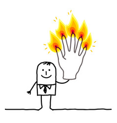 Man with five burning fingers vector