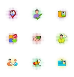 Management icons set pop-art style vector image