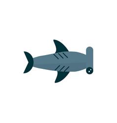 Marine life hammerhead shark cartoon sea fauna vector