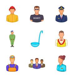 master icons set cartoon style vector image