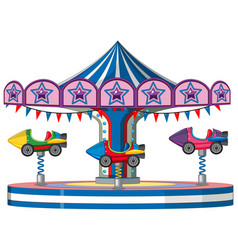 Merry go round with rocket cars vector