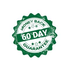 money back guarantee badge green grunge sticker or vector image