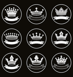 Monochrome luxury crowns collection isolated 3d vector