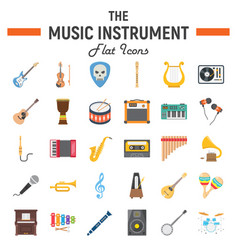 music instruments flat icon set audio symbols vector image