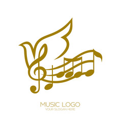 Music logo treble clef and flying dove vector