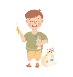 Naughty child painting cat pet with felt pens vector