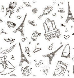 paris seamless pattern eiffel tower fashion vector image
