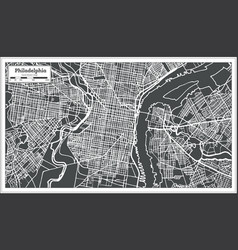 Philadelphia pennsylvania usa map in retro style vector