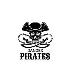 Pirate skull in captain hat with sword icon design vector