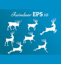 Reindeer collection movementwinterchrismasnew year vector