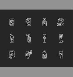Sanitizer types chalk white icons set on black vector