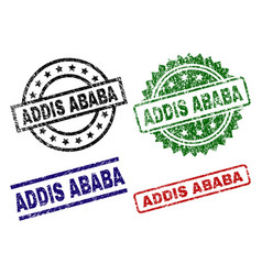 Scratched textured addis ababa stamp seals vector