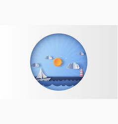 sea view with a floating sailing boat in the vector image