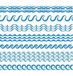 Sea water waves seamless borders aqua elements vector