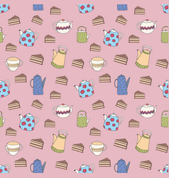 Seamless pattern with colorful teapots and cakes vector
