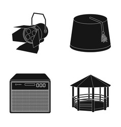 Searchlight fez and other web icon in black style vector