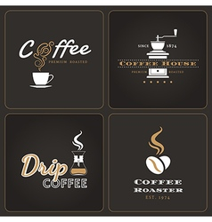 Set drip coffee shop badges and labels vector