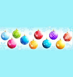 set festive colorful christmas balls vector image