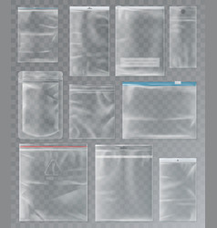 set isolated sachet or packs bags vector image
