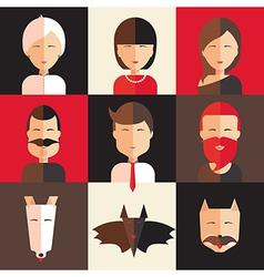 Set of avatars of women men animal vector