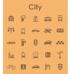 Set of city simple icons vector image