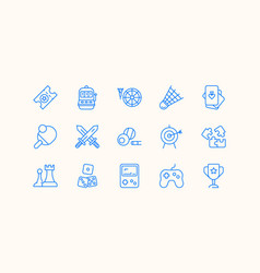 Set of icons about games and entertainment vector