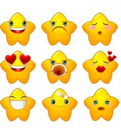 Set smileys stars vector