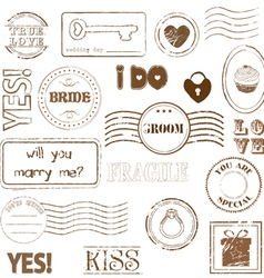 Set wedding postage stamps vector