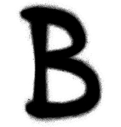 Sprayed B font graffiti in black over white vector