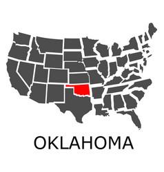 state oklahoma on map usa vector image
