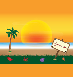 summer sale promotion season with board and sea vector image
