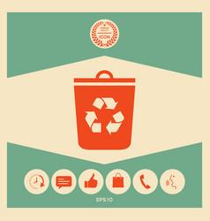 trash can recycle bin icon vector image