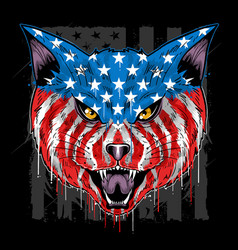 usa flag cat head eps with editable layer vector image