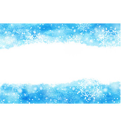 Watercolor abstract blue splash with snowflakes vector