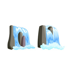 Waterfall cascade streaming down with foam set vector