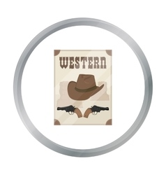 Western movie icon in cartoon style isolated on vector