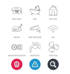 Wifi video camera and mailbox icons vector